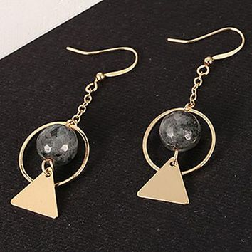 ES237 Tassel Drop Earrings Triangle Circle Beads Fashion Jewelry boucle d'oreille Women Dangle Brincos Steampunk