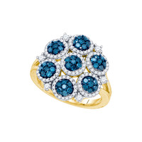 Blue Diamond Fashion Ring in 10k Gold 1.25 ctw