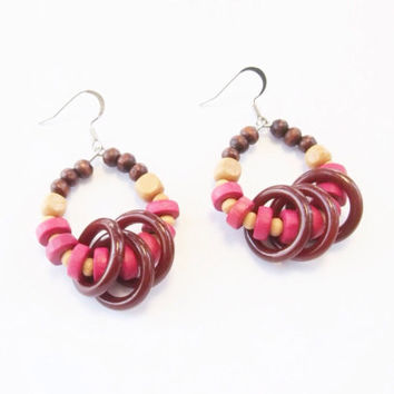 Wood earrings with brown hoops , Nickel Free