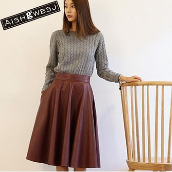 AISHGWBSJ High Waist Woman PU Leather Skirt 2017 New Fashion Woman Spring Vintage Large Swing Long Midi Skirts Black Red QT128