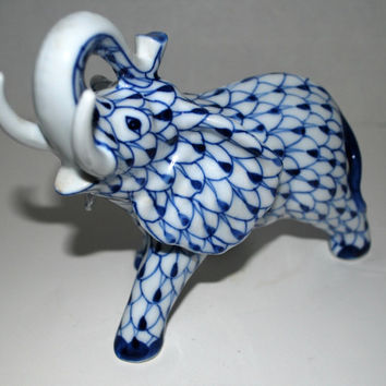 Porcelain elephant blue and white  elephant Andrea by Sadek    Mothers day