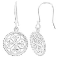 Southern Gates Sterling Silver Round Heart Scroll Earrings