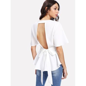 White Round Neck Short Sleeve Peplum Top