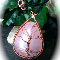 Tree of Life Rose Quartz Necklace, Copper Wire Wrapped Gemstone on Celtic Braided Eco-Friendly Hemp, Gemstone Jewellery, Pagan Wicca Love