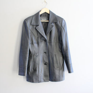 Black Leather Jacket Genuine Leather Blazer Tailor Collar Minimalist 80s 90s Vintage Size S - M