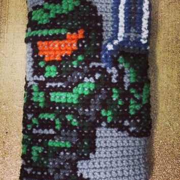Master Chief Halo Videogame iPad/Tablet Case - Handmade Crochet Video Game Pouch/Clutch/Bag/Cover - Retro Hipster Accessory