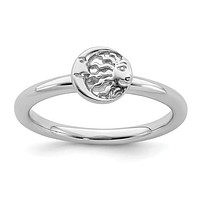 Sterling Silver Stackable Expressions Sun & Moon Ring