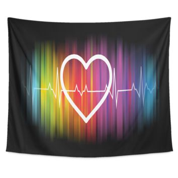 LGBT Gay Pride Tapestry - Rainbow Heart Pulse