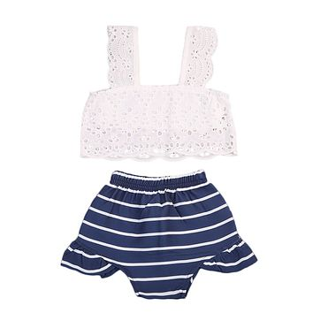 2Pcs Toddler Kids Baby Girls Lace Hollow Outfits Clothes T-shirt Tops+Striped Shorts 2PCS Summer