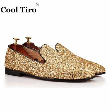 COOL TIRO Smoking Slippers Golden sequins Fashion Small round Toe men Loafers