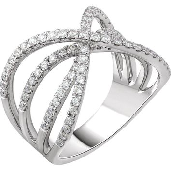 14K White 9-10 CTW Diamond Criss-Cross Ring