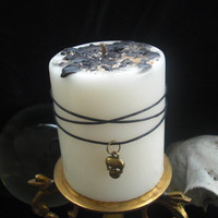 CLEANSING SPELL Candle with FREE Protection Spell, wiccan, white magick, solstice, skull charm