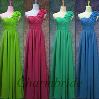 custom colors chiffon bridesmaid dresses / floor length gowns for wedding party / cheap elegant bridesmaid dress with one flower shoulder