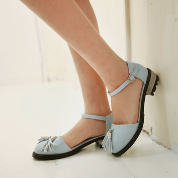Fashion Tassel Flats Sandals Ankle Straps Women Shoes 5638