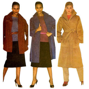 Women's Wool Wrap Coat Sewing Pattern 3 Lengths McCalls 6557 Bust 36-38/Size 14-16 Easy to Sew Coats - Stand Up Collar, Tie Belt Size Medium
