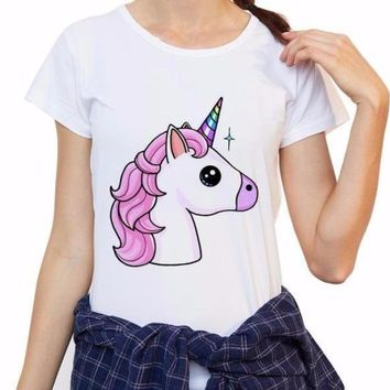 Super Funny Pink Unicorn Short Sleeve T-Shirt Top