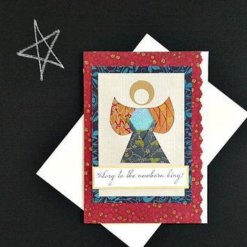 CIJ - Angel Christmas Handmade Greeting Card - Glory to The Newborn King (or choose to leave front message blank) - Iris Fold holiday card