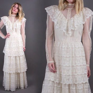 vintage 70s white lace Victorian maxi dress wedding GUNNE SAX tiered sheer boho hippie S M