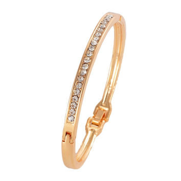 Crystal Embedded Charm Bangle Bracelet - Gold