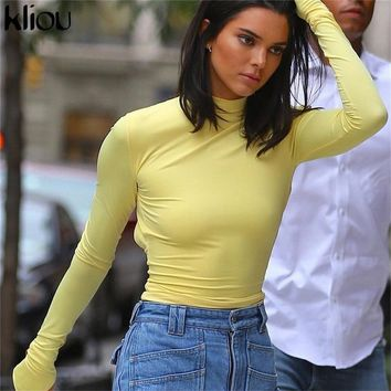 Kliou solid yellow women crop tops 2018 new turleneck full sleeve back hollow out backless sweatshirts female sexy short hoodies