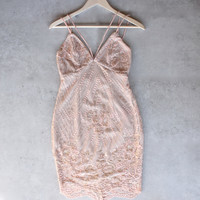shine bright like a diamond bodycon dress - embellished rose gold