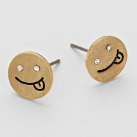 Tongue Out Smile Emoji Stud Earrings - Gold