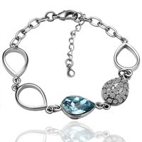 18K White Gold Plated Teardrop Sky Blue Swarovski Elements Link Bracelet