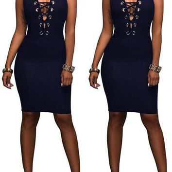 Streetstyle  Casual Sapphire Blue Plain Hollow-out Zipper Round Neck Sleeveless Bodycon Denim Mini Dress