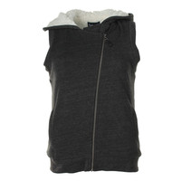 Splendid Womens Faux Sherpa Hooded Casual Vest