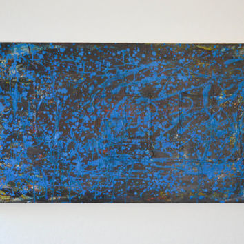 Forgotten Chasm- an original abstract acrylic painting, blue and brown painting, modern home decor, large wall art