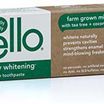 Hello Oral Care Naturally Whitening Fluoride Toothpaste, Vegan & SLS Free, Farm Grown Mint with Tea Tree Oil & Coconut Oil, 4.7 oz