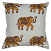 "16"" Elephant Hand Block Printed Decorative Throw Pillow Cushion Cover"