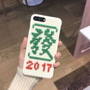 Fashion building block Chinese characters plastic Case Cover for Apple iPhone 7 7Plus 6 Plus 6 -05012