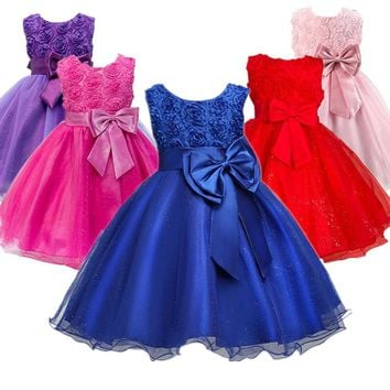 Blue Flower Girl Dress For Evening Prom Party Costume Teenage Girls Kids Clothes Wedding Birthday Gown Little Girl Red Clothes