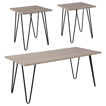 Oak Park Collection 3 Piece Wood Grain Finish Table Set with Metal Legs