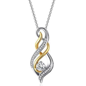 CREYV2S Caperci Sterling Silver and Gold Plated Cubic Zirconia Diamond Accent 'MOM' Flame Twist Pendant Necklace for Women