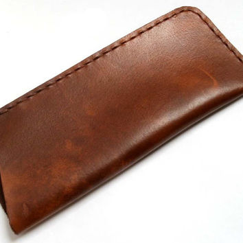 Leather eye glasses case, small, brown