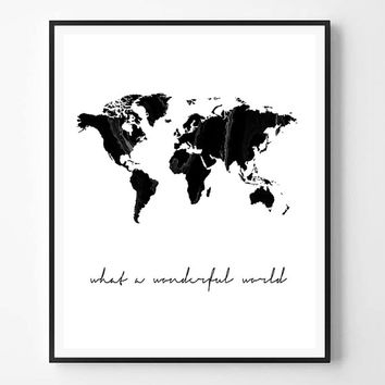 World map print, What a wonderful world, Marble Print, Black and white, Typography Wall Art Print, Printable Quote, Minimalist, Scandinavian