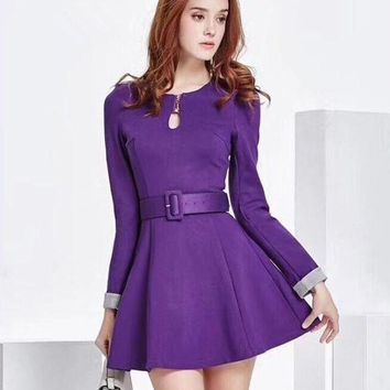 ONETOW PRADA' Temperament Fashion Bodycon Long Sleeve Solid Color Waistband Mini Dress
