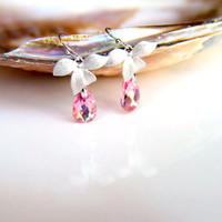 Earrings:Rhodium plated leaves with pink warovski crystal, rhodium plated hooks hooks gift for  wedding, valentine's mother's day
