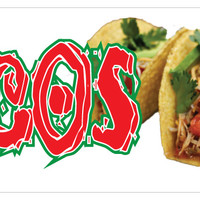 "12"" Tacos Sticker Mexican Food Pork Chicken Concession Stand Sign"