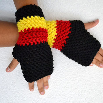 Crochet Fingerless Gloves/ Uganda Flag Colors