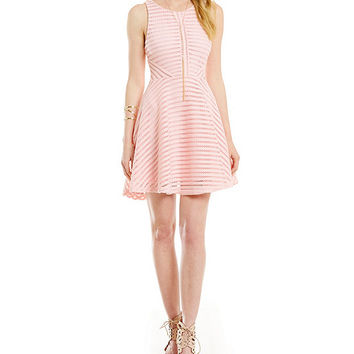 Guess Fishnet Scuba Flare Dress | Dillards