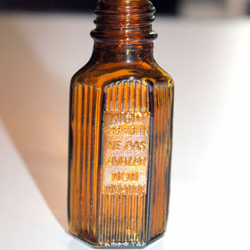 1940s Brown Poison Bottle Small Ridged