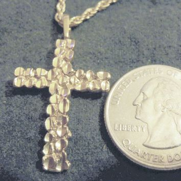 bling 14kt yellow gold plated god jesus religious christian nugget design cross crucifix pendant charm 24 in rope chain trendy fashion necklace jewelry.hip hop