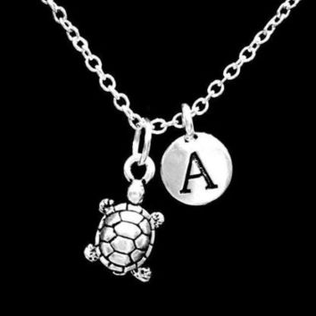 Choose Initial Turtle Animal Sea Beach Nautical Gift Necklace