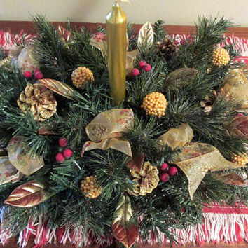 Christmas Floral Red And Gold Floral Table Top Christmas Arrangement Floral Christmas Candle Floral Christmas Centerpiece