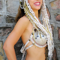 Gold head piece, Bellydance Hair Clip, Tribal Fusion Headdress, Dance headdress,  Belly dance Hair Accessories, Tribal Headbands, Boho gypsy