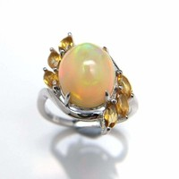 Natural Ethiopian Colorful Opal oval 10*12mm with Brazilian Citrine Gemstone Ring