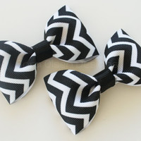Chevron Hair Clips, Set of 2 Hair Clips, Simple Bow Tie Tuxedo Hairbows, Toddler Pigtails, 2 1/2 inch Bow, 2.5, Black White, Christmas
